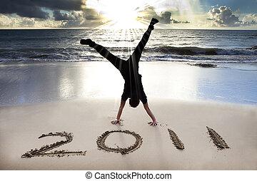 2011, playa, joven, salida del sol, año, nuevo, feliz, pino, celebrar, hombre