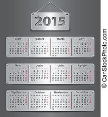 2015, calendario, español