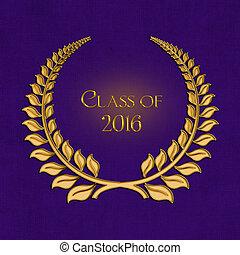 2016 laurel de graduación en púrpura
