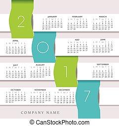 2017, colorido, creativo, calendario