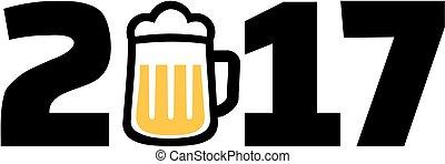 2017 con taza de cerveza