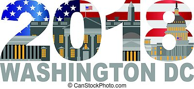 2018 Washington DC, la bandera de EE.UU. esboza la ilustración