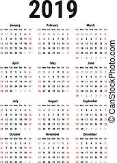 2019, calendario