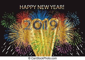 2019 feliz año nuevo con fuegos artificiales