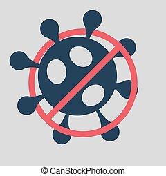 2019-ncov, coronavirus, rojo, novela, signo., afuera, cruzado, parada