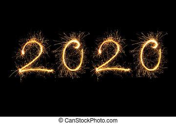 2020., año, nuevo, feliz
