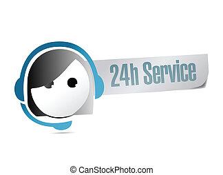 24, cliente, hora, servicio, apoyo, ilustración