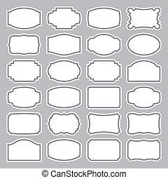 24, etiquetas, conjunto, (vector), blanco
