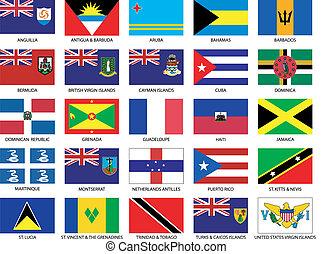 25, caribe, banderas