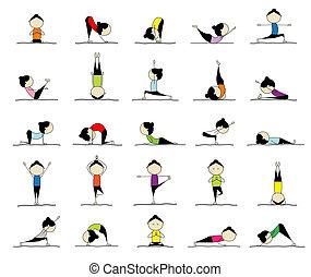 25, mujer, practicar, yoga, diseño, posturas, su