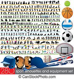 280, siluetas, deporte, equipo
