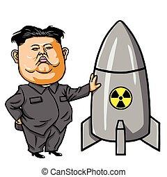 29, illustration., nuclear, misil, vector, kim, 2017, jong-un, julio, caricatura