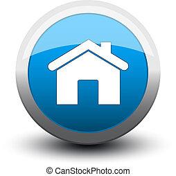 2d, hogar, botón, azul