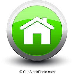 2d, hogar, botón, verde