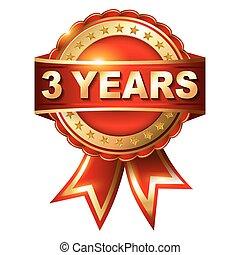 3 años de garantía de oro etiqueta con cinta.