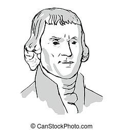 3, autores, declaración, independencia, unido, jefferson, states., presidente, uno, thomas, vector, illustration.