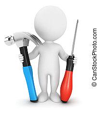 3 blancos con herramientas