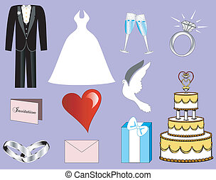 3, boda, iconos