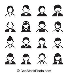 3, conjunto, usuario, iconos