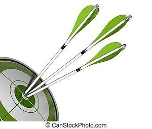 3 flechas en el centro de un blanco verde 3D hacen un fondo blanco aislado, ángulo fronterizo de una página