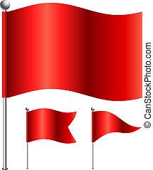 3, ilustración, variants., forma, vector, banderas, rojo