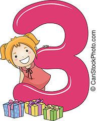 3, número, niño