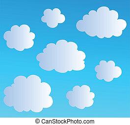 3, nubes, caricatura, colección