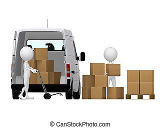 3 pequeñas personas llevando el camión de la mano con cajas. Cajas y camionetas.