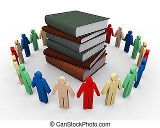 3 personas alrededor de los libros