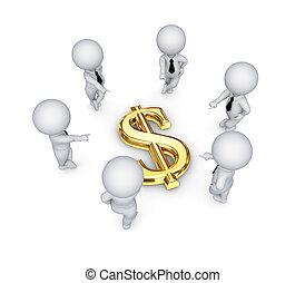 3 personas alrededor del signo de dólar.