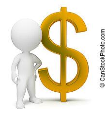3 personas pequeñas - signo de dólar