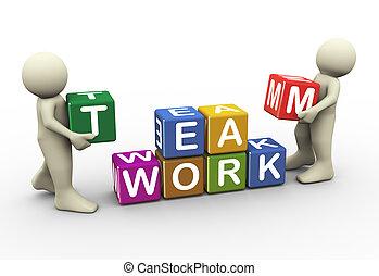 3 personas trabajan en equipo