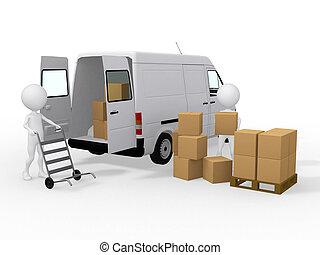 3 trabajadores cargando cajas a una camioneta