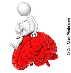 3a persona sentada en el cerebro rojo en una pose pensativa