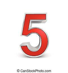 3d, 5, número, rojo, metálico