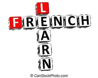 3D aprender crucigrama francés