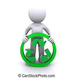 3d, asimiento, reciclaje de símbolo, hombre