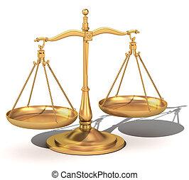 3d balance de oro, las escalas de la justicia
