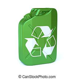 3d, bio, interpretación, verde, señal, combustible, jerrycan, reciclaje