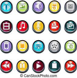 3d, bisel, vector, multimedia, iconos