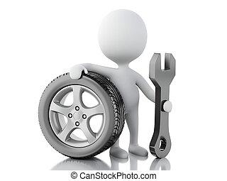 3D blancos con coche de ruedas