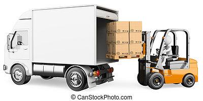 3D blancos. Trabajador cargando un camión con un elevador