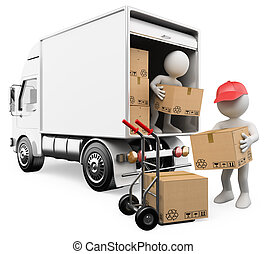 3D blancos. Trabajadores descargando cajas de un camión