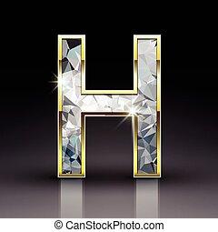 3D brillante letra H