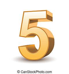 3D brillante número 5