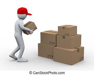3d, cajas, colocación, paquete, hombre