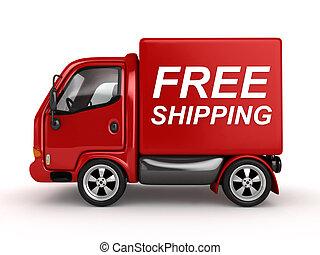 3D camioneta roja con texto de transporte gratuito