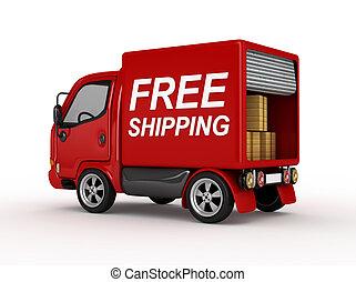 3D camioneta roja con transporte gratis