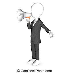 3d carácter humano con un megáfono blanco