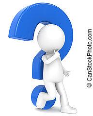 3d carácter humano con un signo de interrogación azul